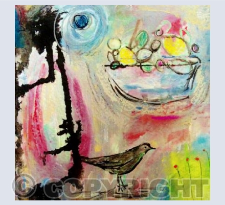 Blackbird, fruit bowl and joy!