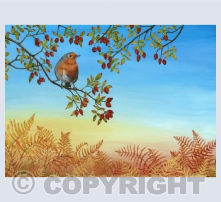 Autumn Robin Greetings Card