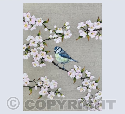 Blue Tit and Blossom Card