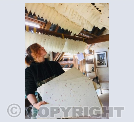 Petal paper drying in the loft at Pitt Mill
