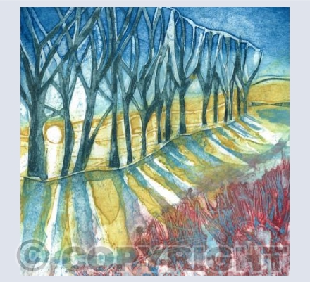 Sunset over the Stour-collagraph