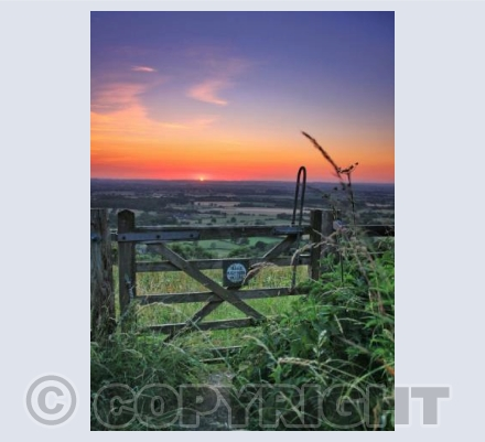 Sunset gateway, Ibberton Hill, Dorset.