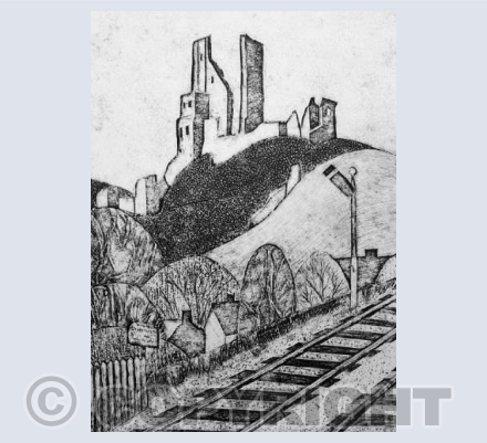 Collagraph Corfe Castle Station