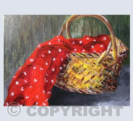 Basket with red cloth