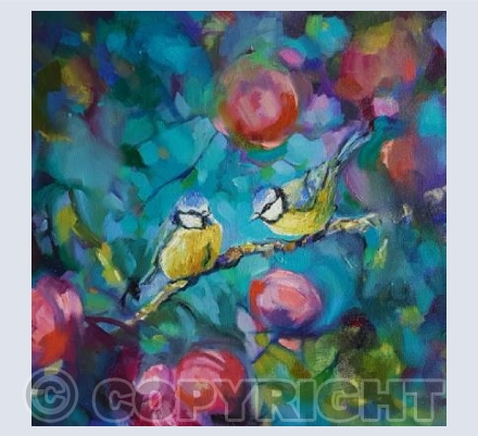 Bluetits and Roses
