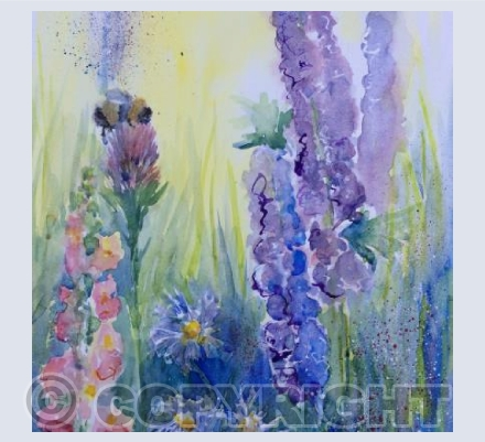 Delphiniums and Bee