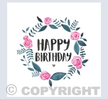 Happy Birthday Floral Wreath