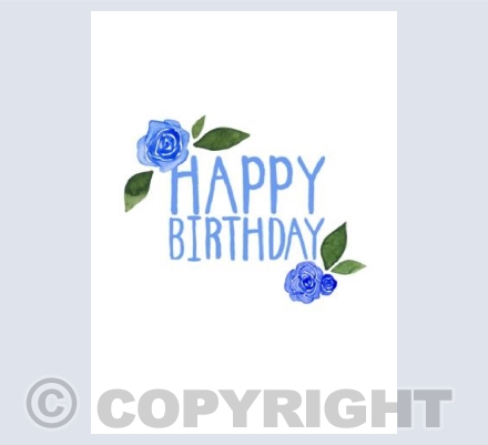 Happy Birthday Roses in Blue