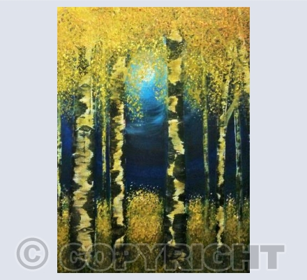 Moonlit Birches