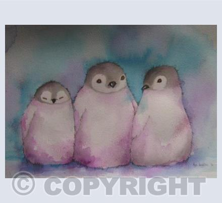 Three Baby Penguins