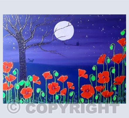 Poppies by the Lilac Moon
