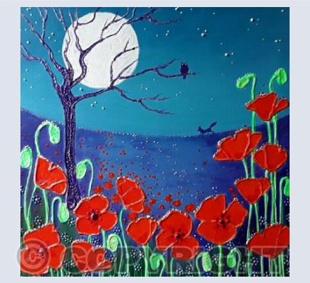 Moonlight on the wild poppies