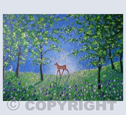Stag in the bluebell wood