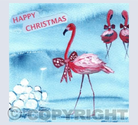 Flamingo Christmas Snow