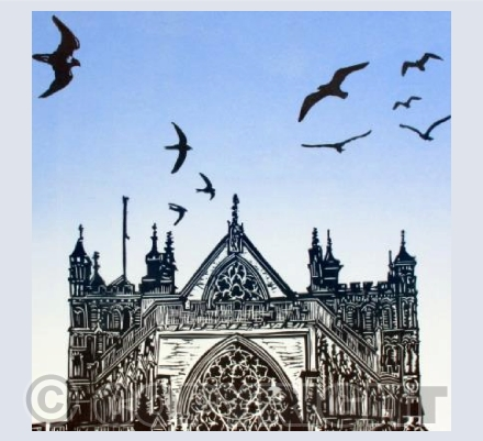 Exeter Cathedral with birds