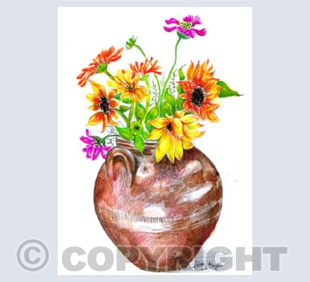 Brown Pot Vase Flowers Kathy Mason Still Life
