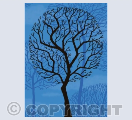 Winter Trees on Blue