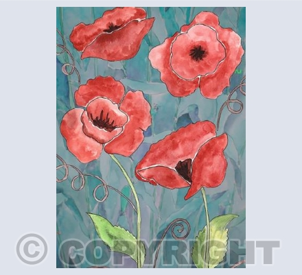 Poppies on gray background