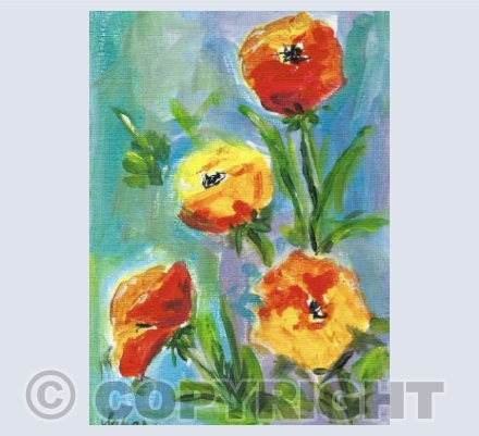 Poppies on blue/green background
