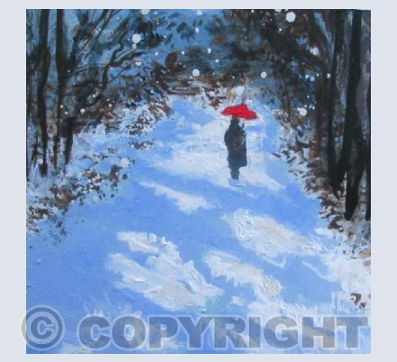 Red Umbrella, Snow Walk