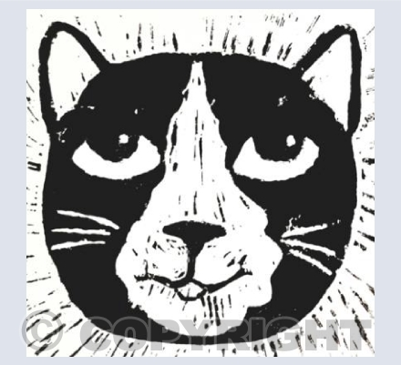 Black and White Cat Face Linocut