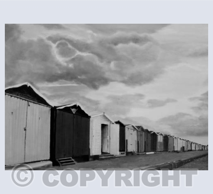 """Beach Huts"" in black and white"