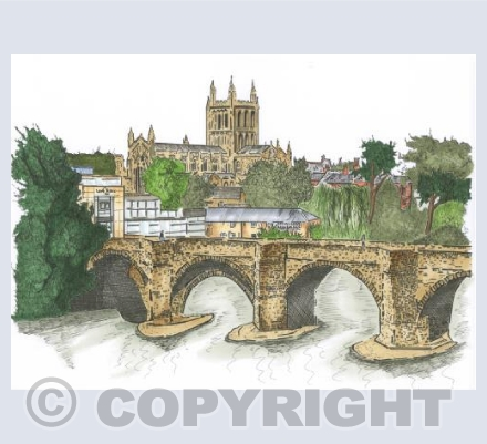 River Wye Bridge-Hereford (in colour)