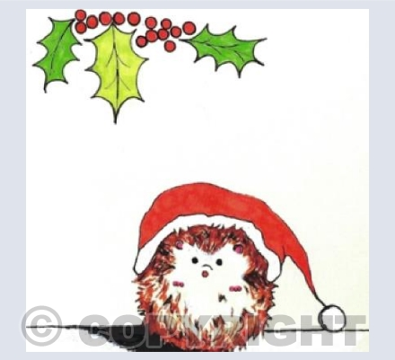 Cute hedgehog in a Christmas hat