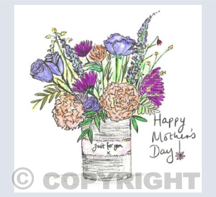 Purple tin can posy for Mother's Day