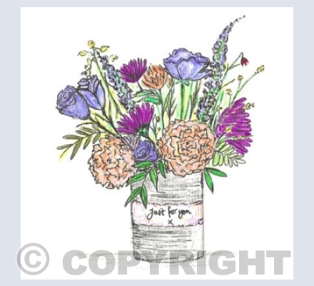 Purple tin can posy