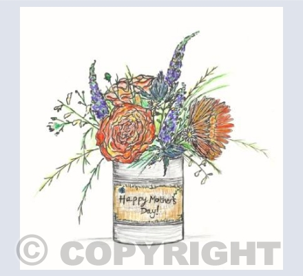 Orange tin can posy for Mother's Day