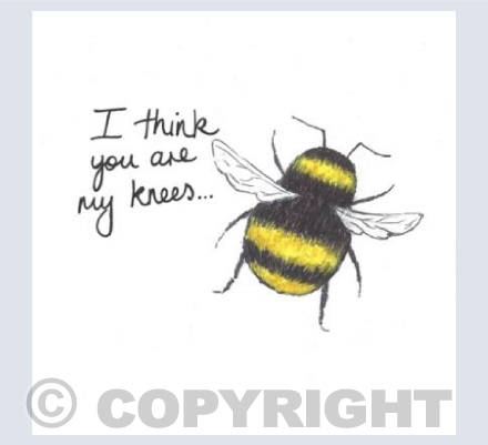 'I think you are my knees'... cute bee card!
