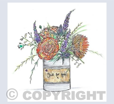 Orange tin can posy just for you