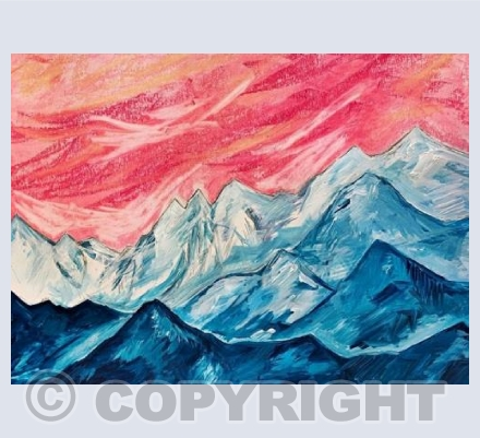 Mountain landscape with pink hues...