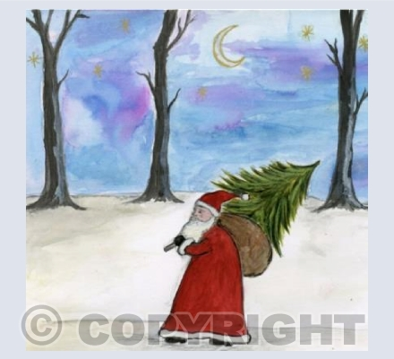 Father Christmas in the twilight woods
