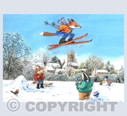 Skiing on the snowy slopes ...