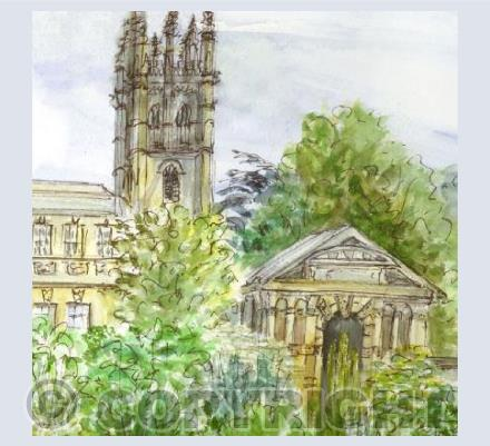Oxford Botanic Garden and Magdalen Tower card