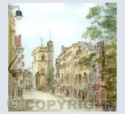 Oxford High Street and Carfax Tower card