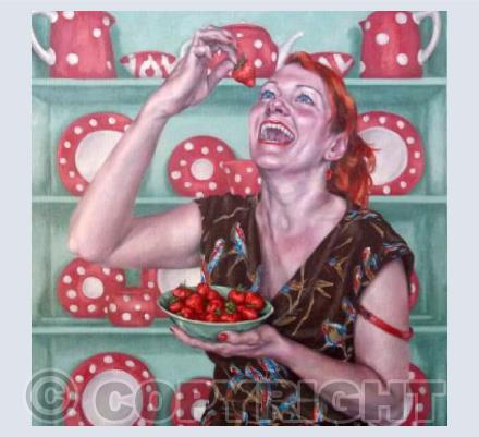 Laughing While Eating Strawberries