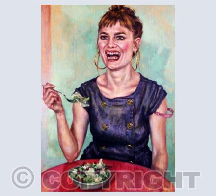 Laughing While Eating Salad