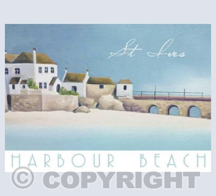 St Ives Harbour Beach - Greetings Card
