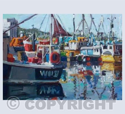 'Newlyn Harbour Busy and Bright'