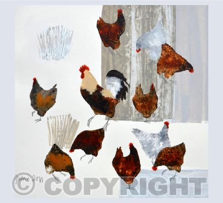 Cockerel and Hens Card