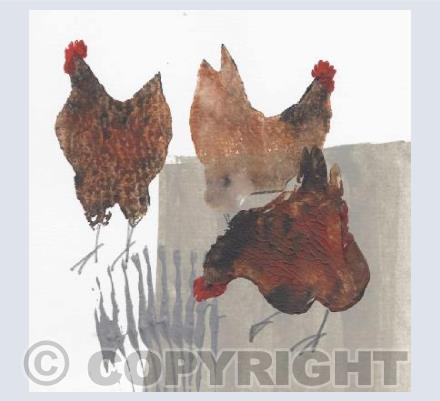 Three Hens Card