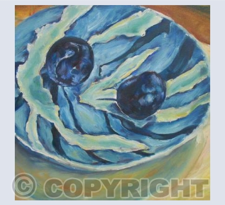 Black Plums on Plate