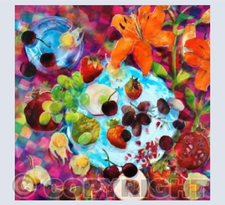 Summer Fruits on a Blue Dish