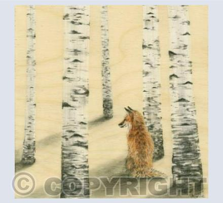 Fox in Birch Trees