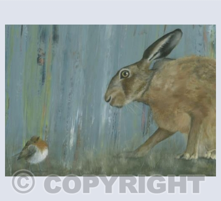 Curious Hare and Robin