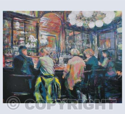Contemporary figures and cafe scenes
