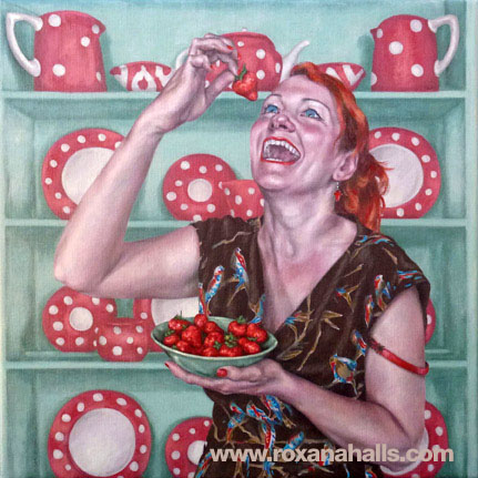 Roxana Halls - Laughing while eating strawberries